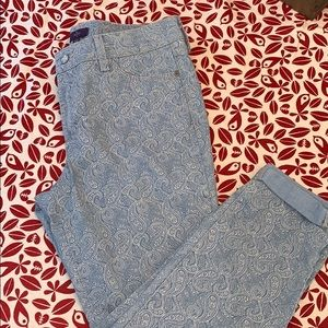 NYDJ light denim paisley stretch jeans, size 10P